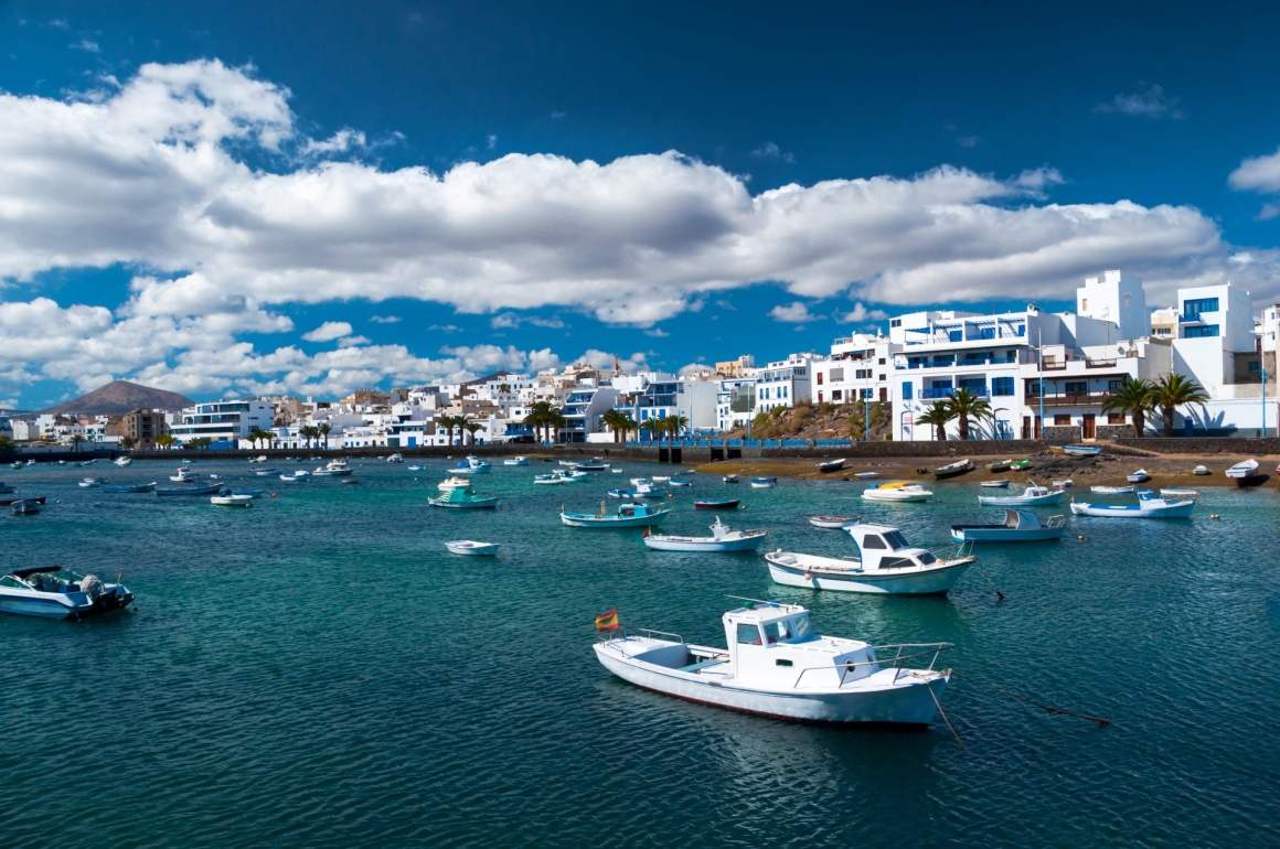 'Fisher boats at the laguna Charco de San Gines, city of Arrecife, Lanzarote, Canary Islands' - Lanzarote